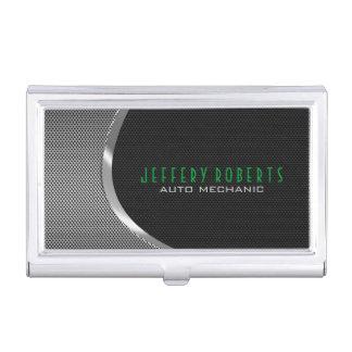Black & Metallic Silver Gray Auto Professional Business Card Holder