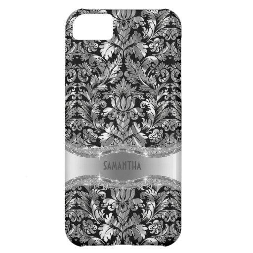 Black & Metallic Silver Gray Vintage Damasks iPhone 5C Covers