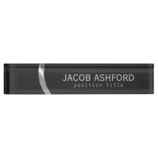 Black Metallic With Holes Pattern Nameplate