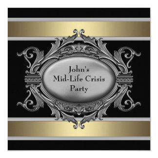 Black Mid-Life Crisis Mans 40th Birthday Party 13 Cm X 13 Cm Square Invitation Card