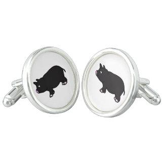 Black Mini Pig Cuff Links
