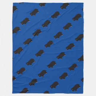 Black Mini Pig Fleece Blanket