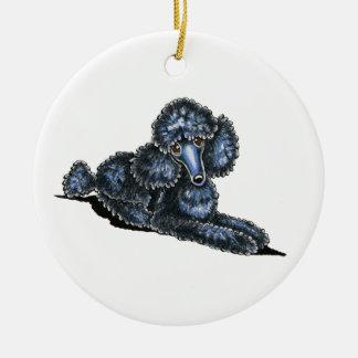Black Mini Poodle Lay Pretty Personalized Ceramic Ornament