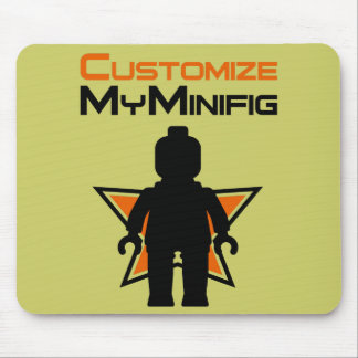 Black Minifig in front Customize My Minifig Logo Mouse Pad