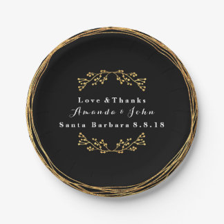 Black Minimal  Gold Floral Decor Wreath Wedding Paper Plate