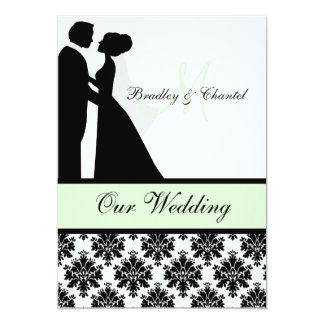 Black, Mint, and White Couple Wedding Invitation
