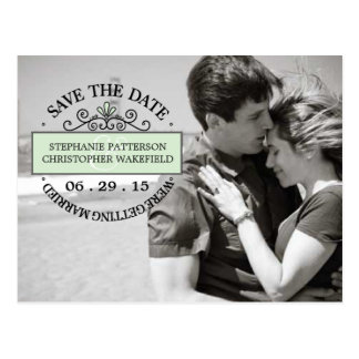 Black | Mint Graphic Stamp Save The Date Postcard