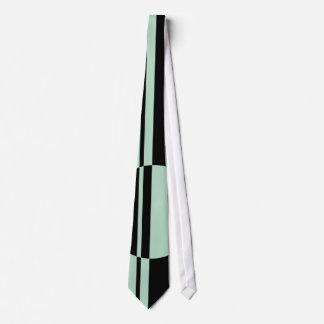 Black mint green bold circle stripes tie