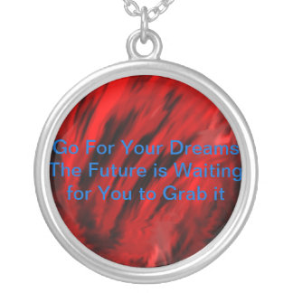 Black Mixed with Red with Words Round Pendant Necklace