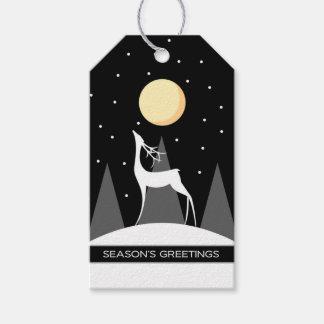 Black Modern Deer Moon Christmas Gift Tags