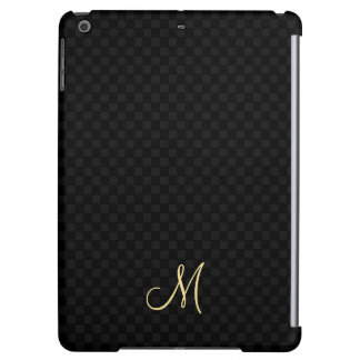 Black Modern Monogram Pattern iPad Air Hard Case