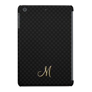 Black Modern Monogram Pattern iPad Slim Hard Case