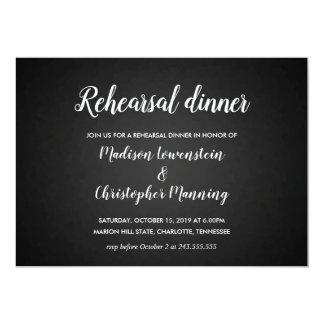 Black Modern Rehearsal Dinner Typography Wedding Card