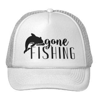 Black Modern Text & Whale-Gone Fishing Cap