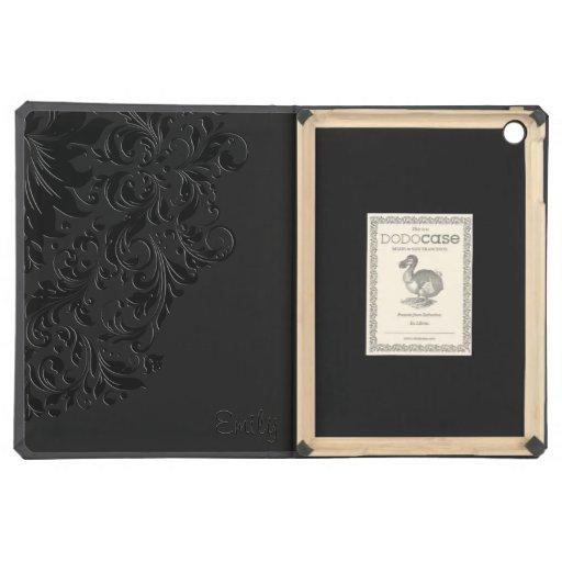 Black Monochromatic Vintage Floral Lace iPad Air Case