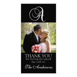 Black Monogram A Wedding Thank You Photo Card