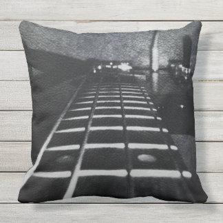 Black Monogram Bass Guitar Music Pillow