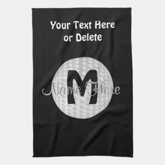 Black Monogram Golf Towels, Your Name, COLORS Tea Towel