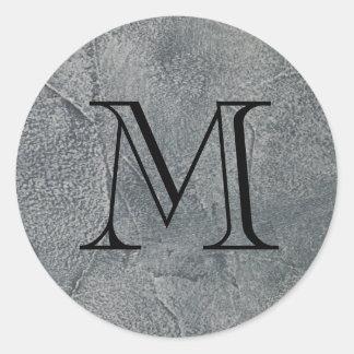 Black Monogram Initial on  Dark Gray Envelope Seal