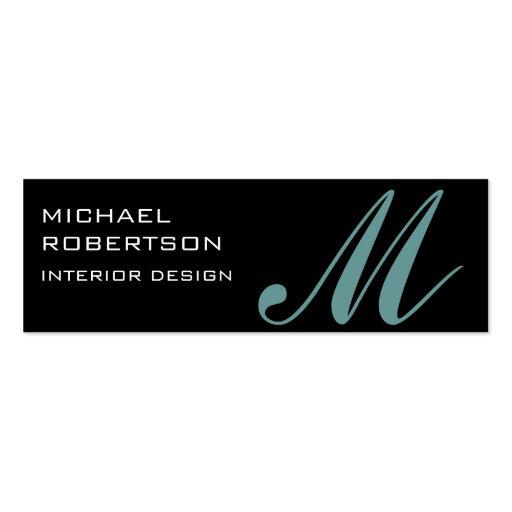 Black Monogram Interior Designer Business Card