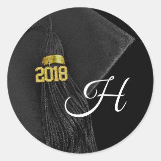 Black Monogram Letter Class of 2018 Graduation Classic Round Sticker