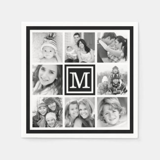 Black Monogram Photo Collage Disposable Serviette