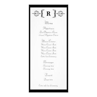 Black Monogram Vintage Wedding Menu Rack Card