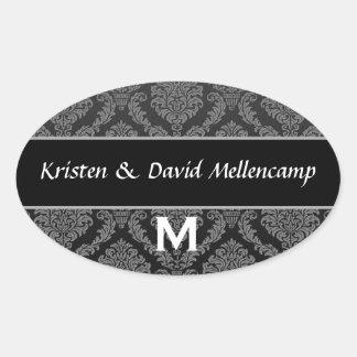 Black Monogram Wedding Damask V02 Oval Sticker