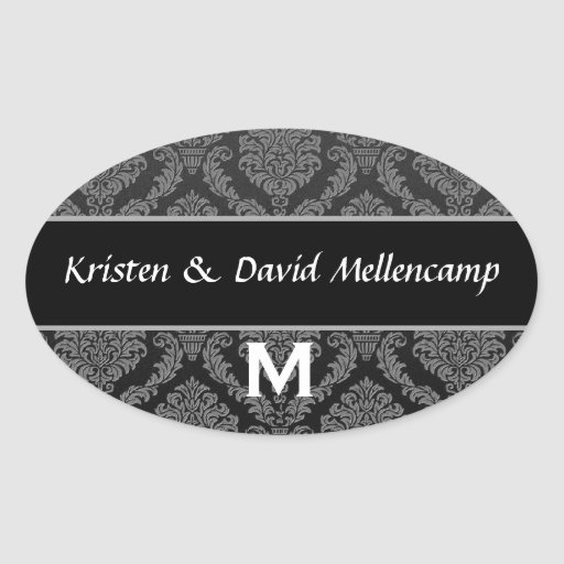 Black Monogram Wedding Damask V02 Oval Stickers