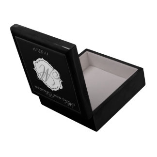 Black Monogram Wedding Keepsake Box Attendant Gift