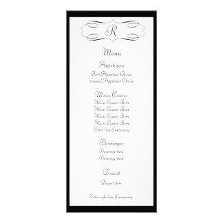 Black Monogram Wedding Menu Rack Card