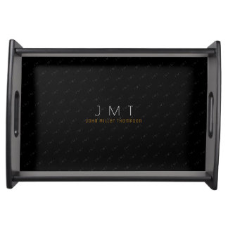 black monogrammed name & initials serving tray