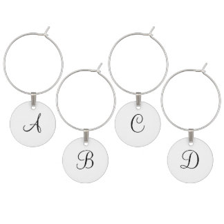 Black Monogrammed Wedding Favors Wine Glass Charm