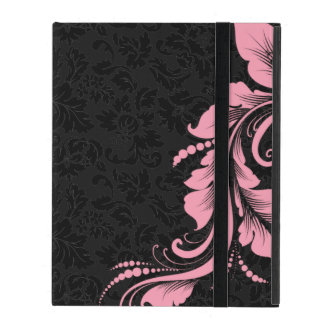 Black Monotones Damask And Pink Floral Lace iPad Cover