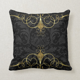 Black Monotones Floral Damasks & Gold Frame Throw Pillow