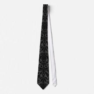 Black Monotones Floral Damasks Pattern Tie
