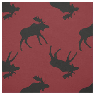 Black Moose Silhouettes on Red Fabric