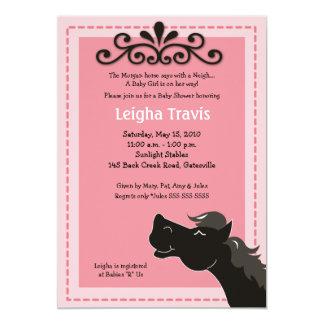 Black Morgan Horse Girl 5x7 Baby Shower Invitation