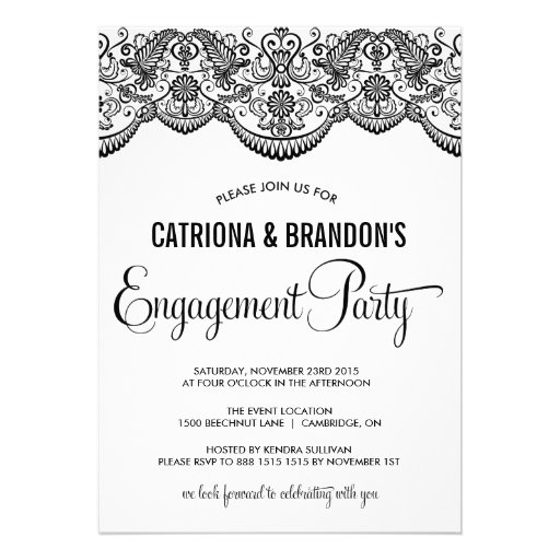 Black Moroccan Lace Engagement Party Invitation