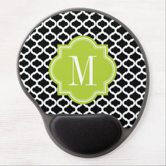 Black Moroccan Pattern with Lime Green Monogram Gel Mouse Pad