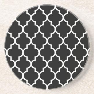 Black Moroccan Quatrefoil Pattern Coaster