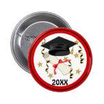 Black Mortar and Diploma Graduation 6 Cm Round Badge