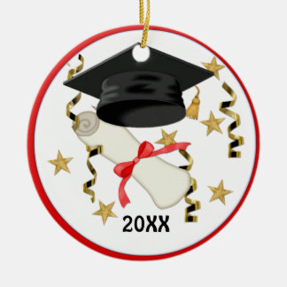Black Mortar and Diploma Graduation Ceramic Ornament