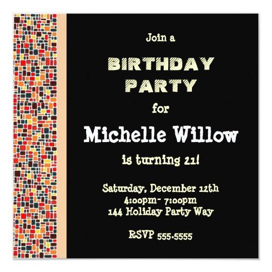 Black Mosaic Birthday Party Invitation