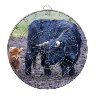 Black mother scottish highlander cow dart boards