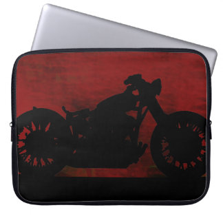 black motorcycle on red back computer sleeve