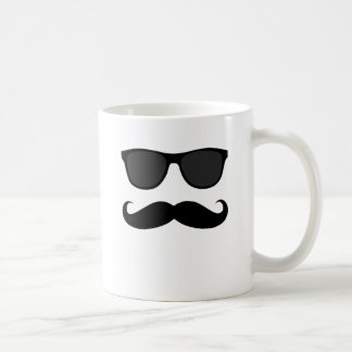 Black Moustache and Sunglasses Humour Gift Basic White Mug