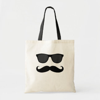 Black Moustache and Sunglasses Humour Gift Budget Tote Bag