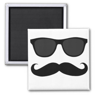 Black Moustache and Sunglasses Humour Gift Square Magnet