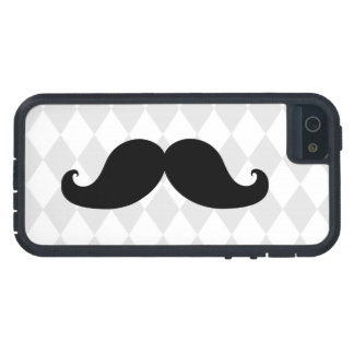 Black Moustache Grey Diamond Pattern iPhone 5 Case